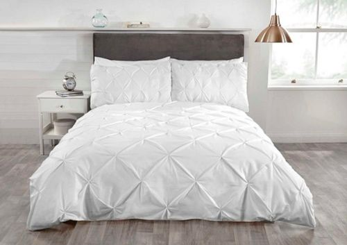 """Balmoral""White pin tucked Contemporary Double Duvet set ""Belle Amie"" by Rapport"